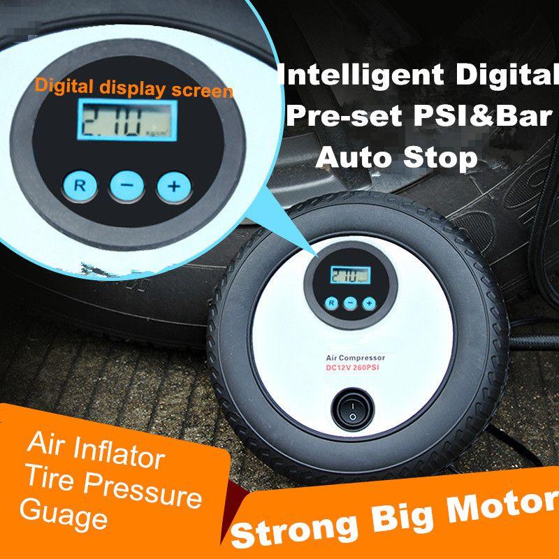 Цифровой заданной Портативный 12 В 260PSI автомобильный шин насоса мини-цифровой компрессор авто остановить насос автомобильный компрессор