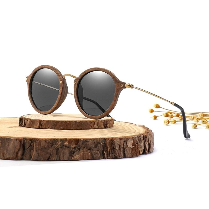 Ultralight Women Men Polarized Sunglasses <font><b>Wooden</b></font> Round Frame CR39 Lens