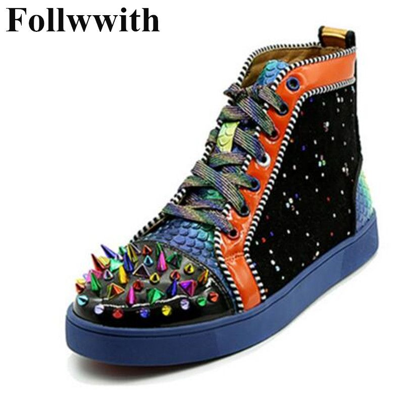 2018 Follwwith Spikes Rivets High Top Mixed Colors Patchwork Fashion Men Casual Shoes Flats Lace Up Hommes Chaussures Sneakers