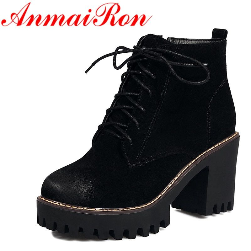 ANMAIRON Autumn Winter Shoes Woman Lace-up Ankle Boots for Women High Heels Platform Shoes Boots Black Brown Green Women Boots