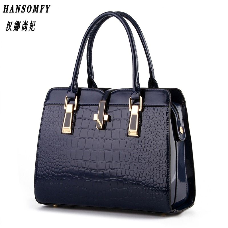 100% Genuine leather Women handbag 2017 New bright patent leather crocodile pattern fashion shoulder shoulder ladies bags