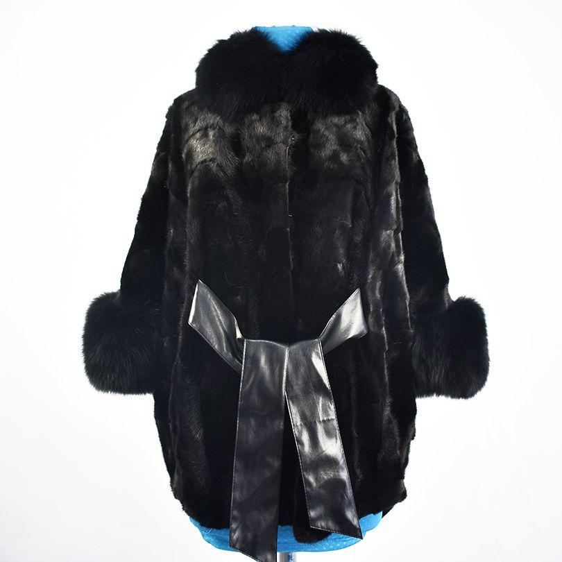 2018 new real mink fur coat jacket fox fur collar high quality fashion sash belt women natural fur coat thick warm street style