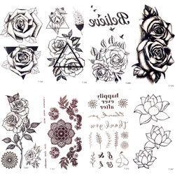 Triángulo negro Rose flor temporal tatuaje verano Plumas Aves tatuaje Adhesivos Mujeres Partido Tatto impermeable Niñas Cuerpo brazo arte