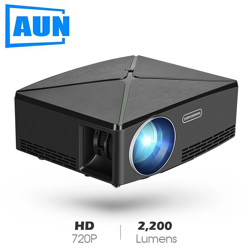 AUN MINI Projecteur C80 UP, Résolution 1280x720, Android WIFI Projuecteur, LED Portable HD Projecteur Pour Home Cinema, Optionnel C80