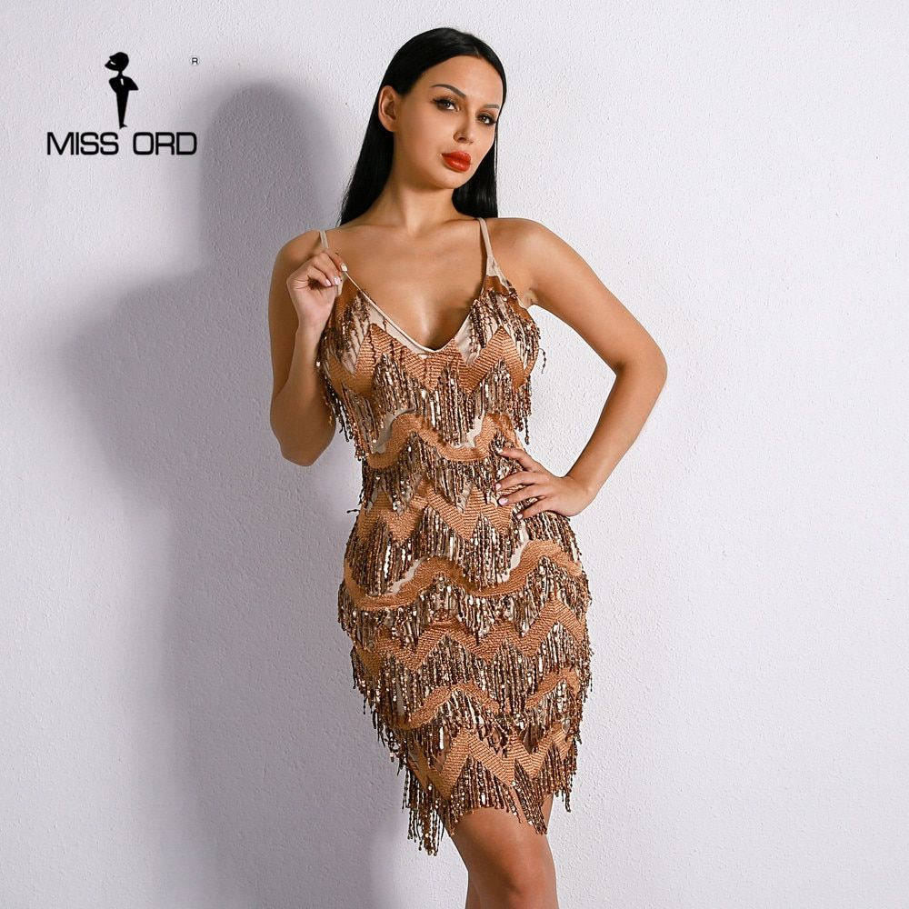 Missord 2018 Sexy V Neck Harness Backless Embroidery Sequin Pendant Elegant Dress FT8650