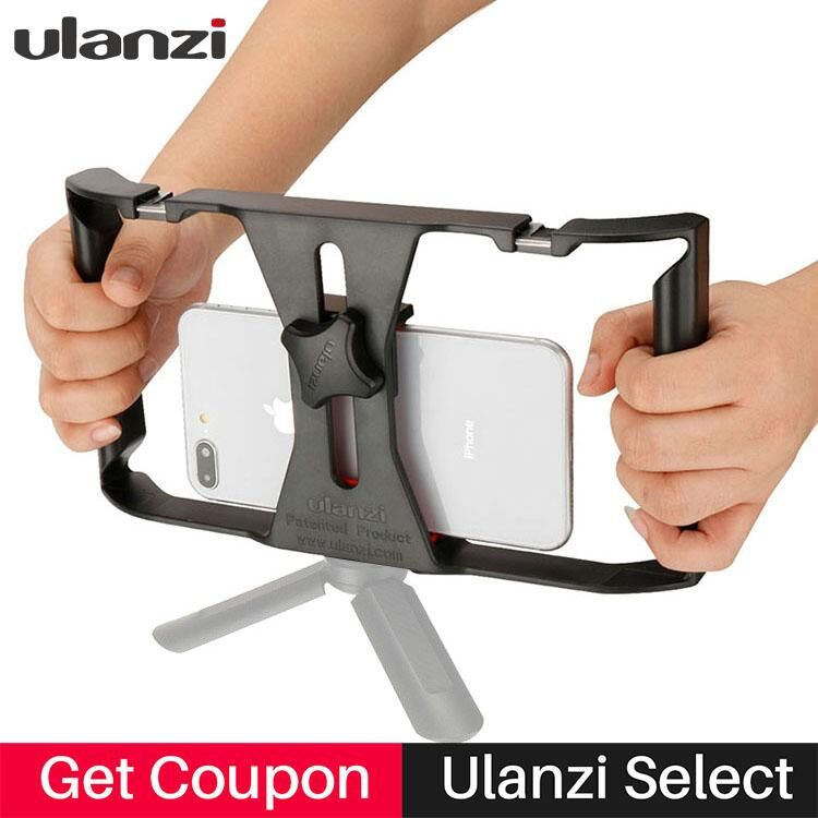 Ulanzi Handheld <font><b>Smartphone</b></font> Video Rig With 2 Hot Shoe Mounts Vlogging Rig Stabilizer for iPhone Instagram Video Microphone LED