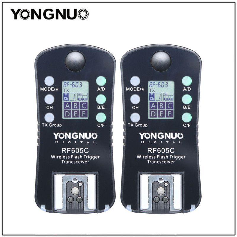 Yongnuo 2 pcs RF605 RF-605 Sans Fil Déclencheur Flash Transceiver pour Nikon D7100 D5200 D5100 pour Canon 650D 1000D 1100D 1000D