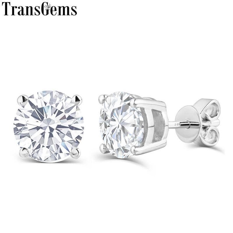 Transgems Platinum Plated Silver 1CTW 5MM HI Color Moissanite Stud Earrings For Women Push back Sterling 925 Moissanite Earrings