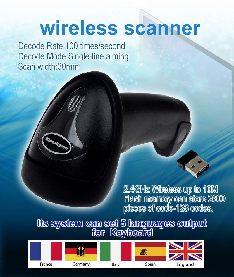 Free Shipping!Blueskysea Wireless Barcode Scanner bar Code Reader 2.4G 10m Laser Barcode Scanner Wireless/Wired For Windows CE