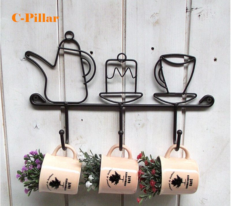 Creative Cups & Kettle Iron Wall Key Holder Rural Mini Metal Hooks Hanger for Keys Black Power Hook Rack Stocked Anzol Cabides