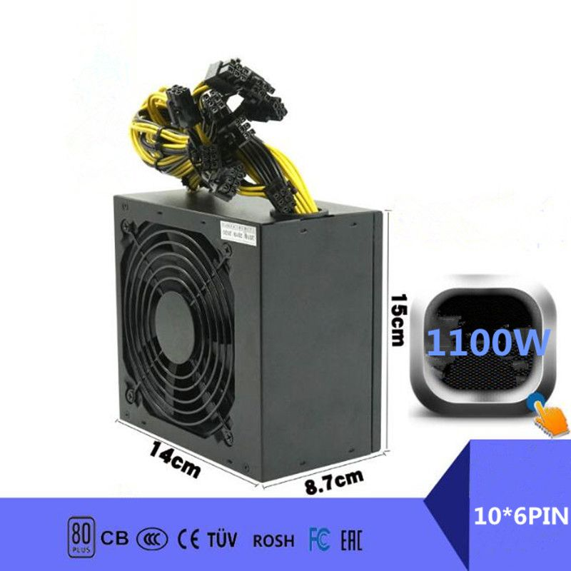 1100W PC Power Supply 1100W PC Power Switch for Asic Bitcoin Miner 1100W ETH DC ATX PSU Mining Rig Mining Power Supply Gaming
