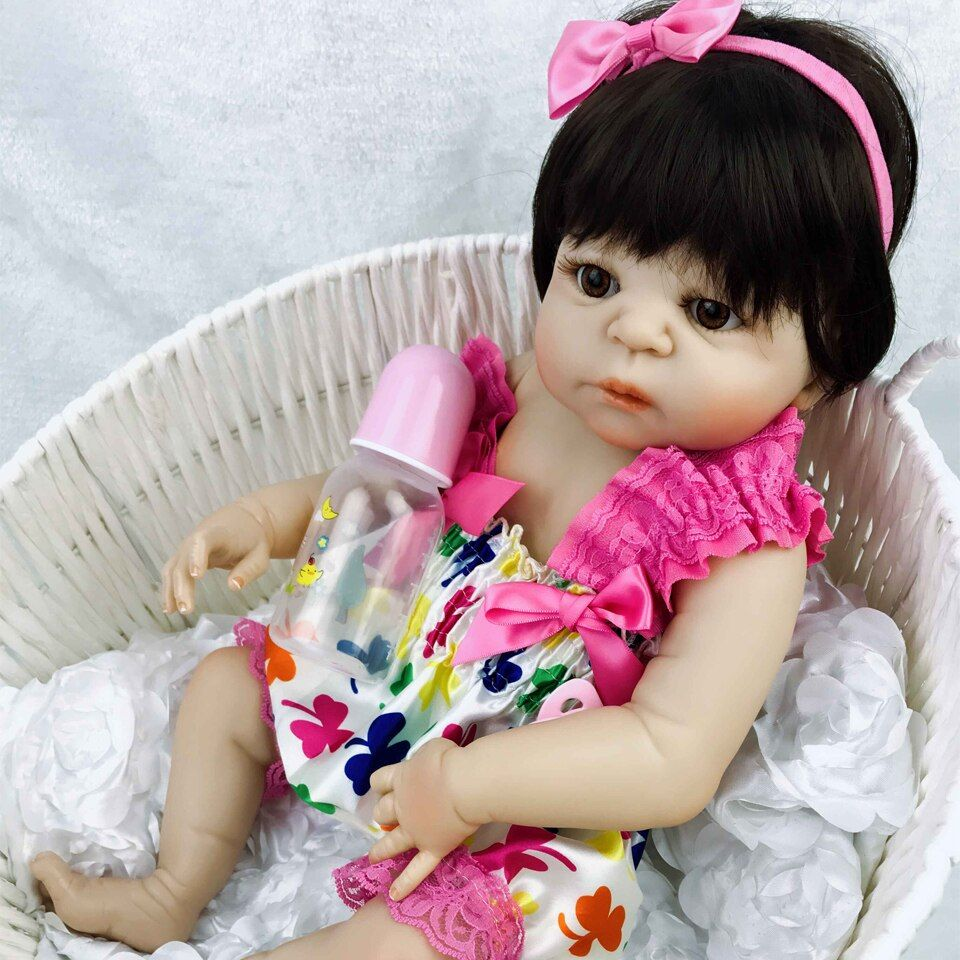 23 Inch White Skin Baby Doll Realistic Full Silicone Vinyl Alive Girl Doll Reborn Baby Doll For Children Gifts Kid Best Playmate