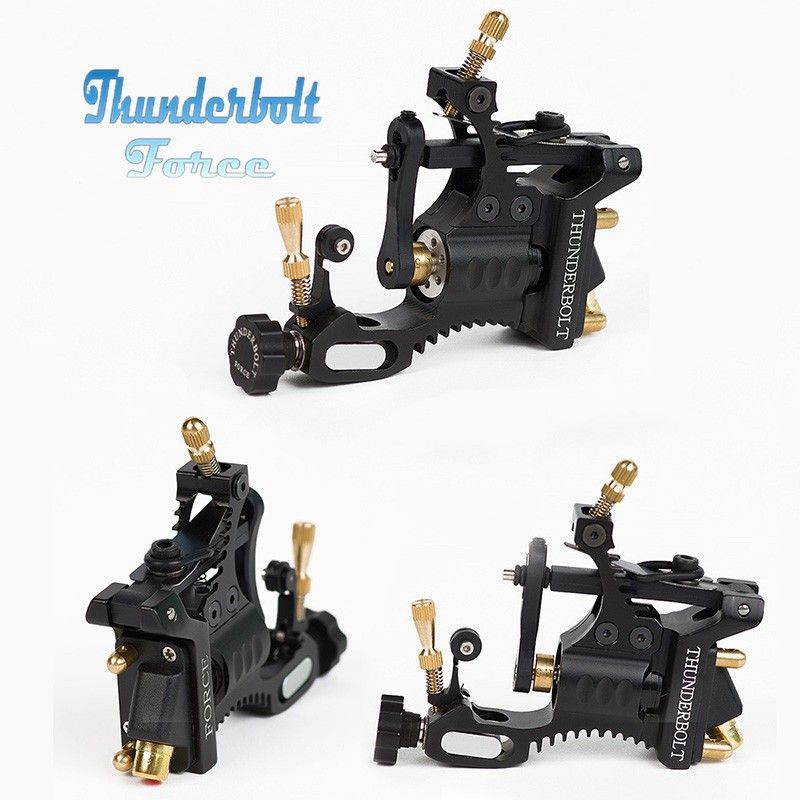 Rotary Tattoo Machine New Professional Thunderbolt Force   Shader&Liner Rotary Tattoo Gun Supply Black Free Shipping