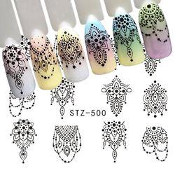 1 Feuille Noir Collier Bijoux Conception Transfert de L'eau Autocollant Nail Art Stickers DIY Mode Wraps Conseils Manucure Outils SASTZ500