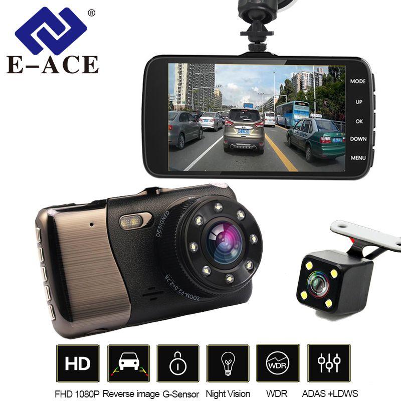 E-ACE Voiture Dvr 4.0 Pouce LDWS ADAS Nuit Vision Caméra FHD 1080 P Double Objectif Dash Cam Avec Voiture D'alerte À Distance Auto Registrator