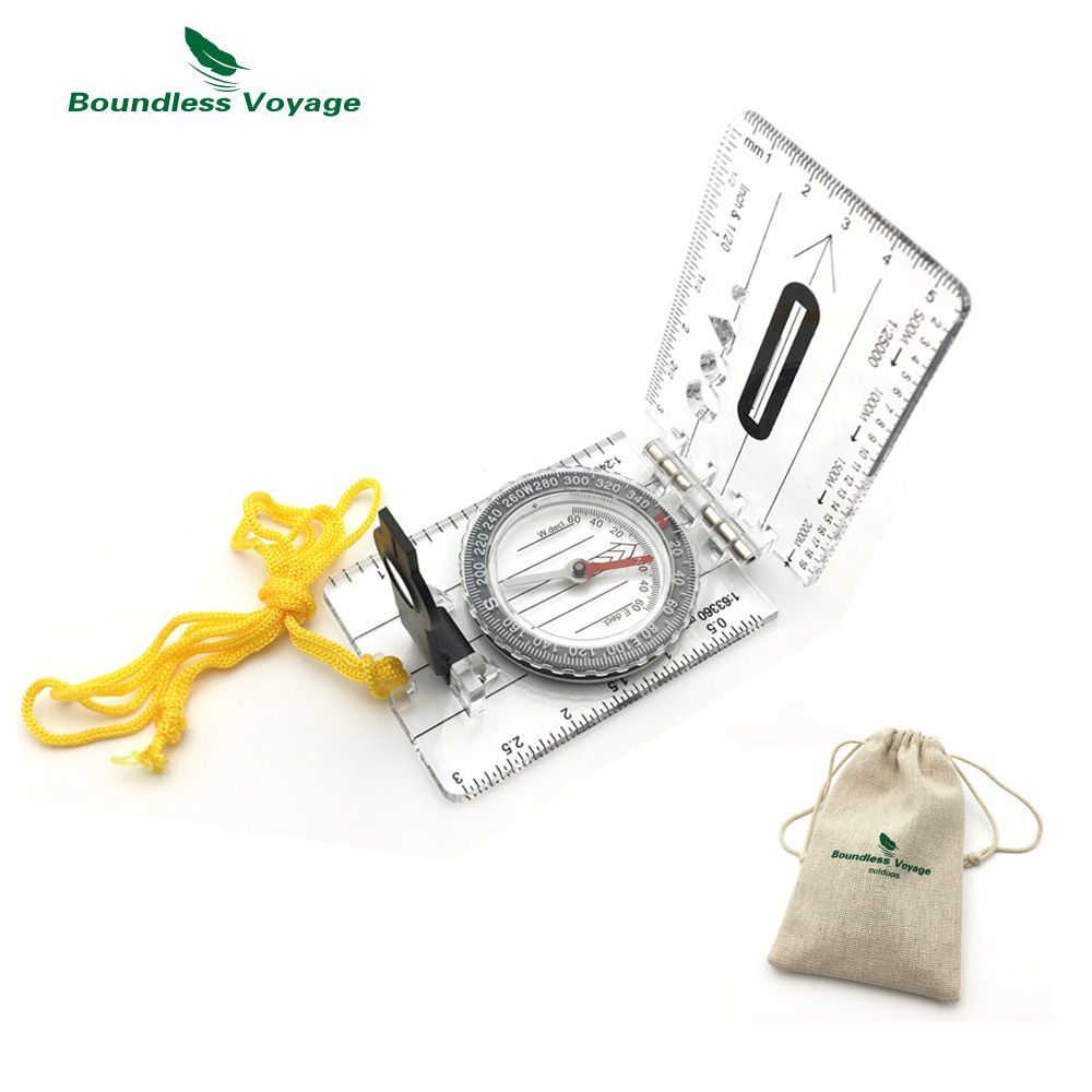 Boundless Voyage Multifunction Outdoor Survival Camping Compass Hiking Ruler Map Scale Military Compass BVC03
