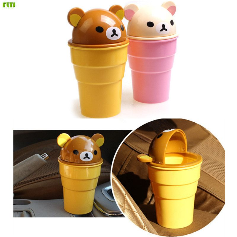 FLYJ NEW Car Garbage Can Car Trash Bin Dust Case Standing Rolling Cover Type car-styling Trash Rubbish Mini Office Home