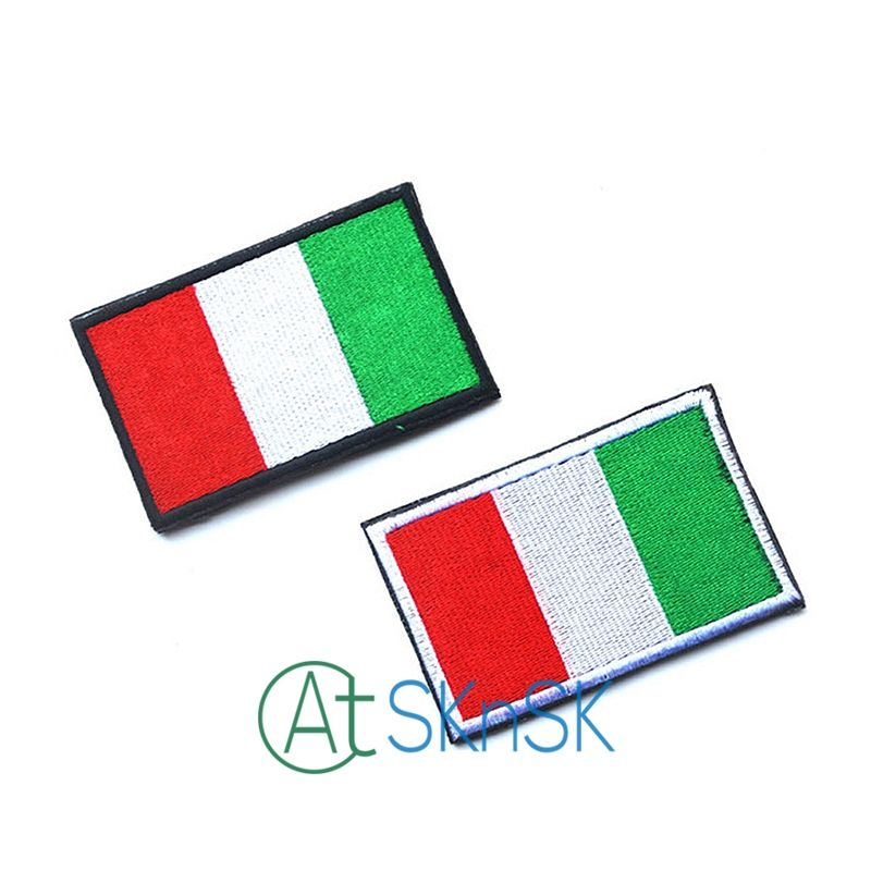 50pcs/set Embroidered Italy Flag Patch Tactical 3D Patches Mud Color Combat Badge Fabric National Flags DIY handmade Accessory