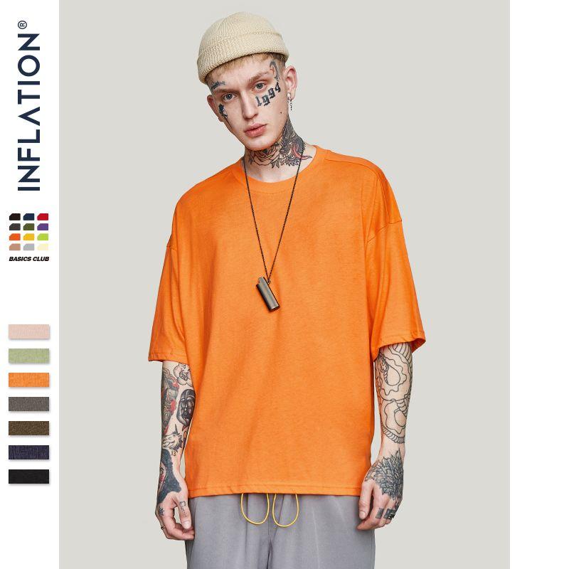 INFLATION été nouveau Style unisexe décontracté solide coude longueur col rond coton surdimensionné mode Hip Hop T-Shirts 0057S17