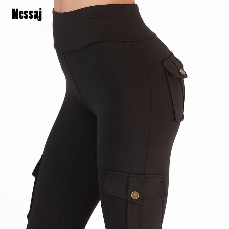 Nessaj taille haute Fitness Leggings femmes Leggings de poche couleur unie Push Up Legging femmes vêtements Polyester Leggings