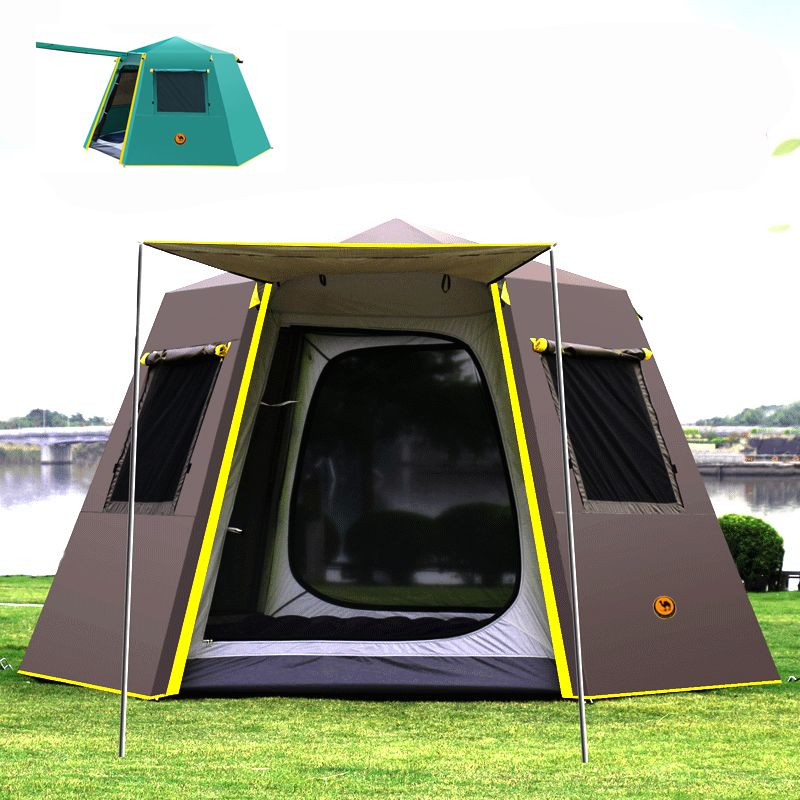 UV hexagonal aluminium pol automatische Outdoor camping wilde große zelt camping zelt camping 4-6persons markise garten pergola
