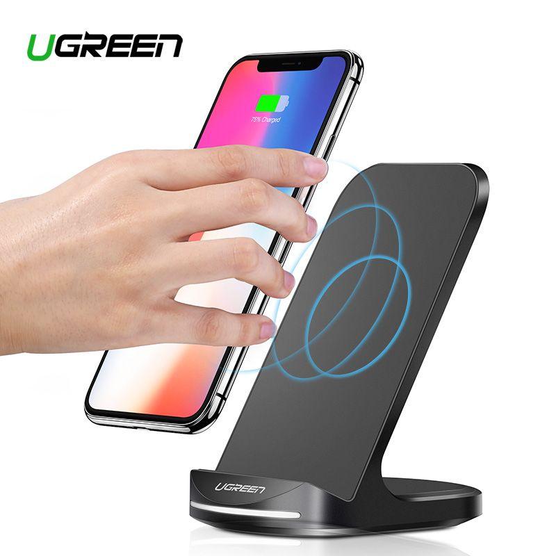Ugreen Qi Sans Fil chargeur pour iphone X XS 8 XR Samsung S9 S10 S8 Rapide Sans Fil stand de chargement Station Téléphone chargeur pour xiaomi