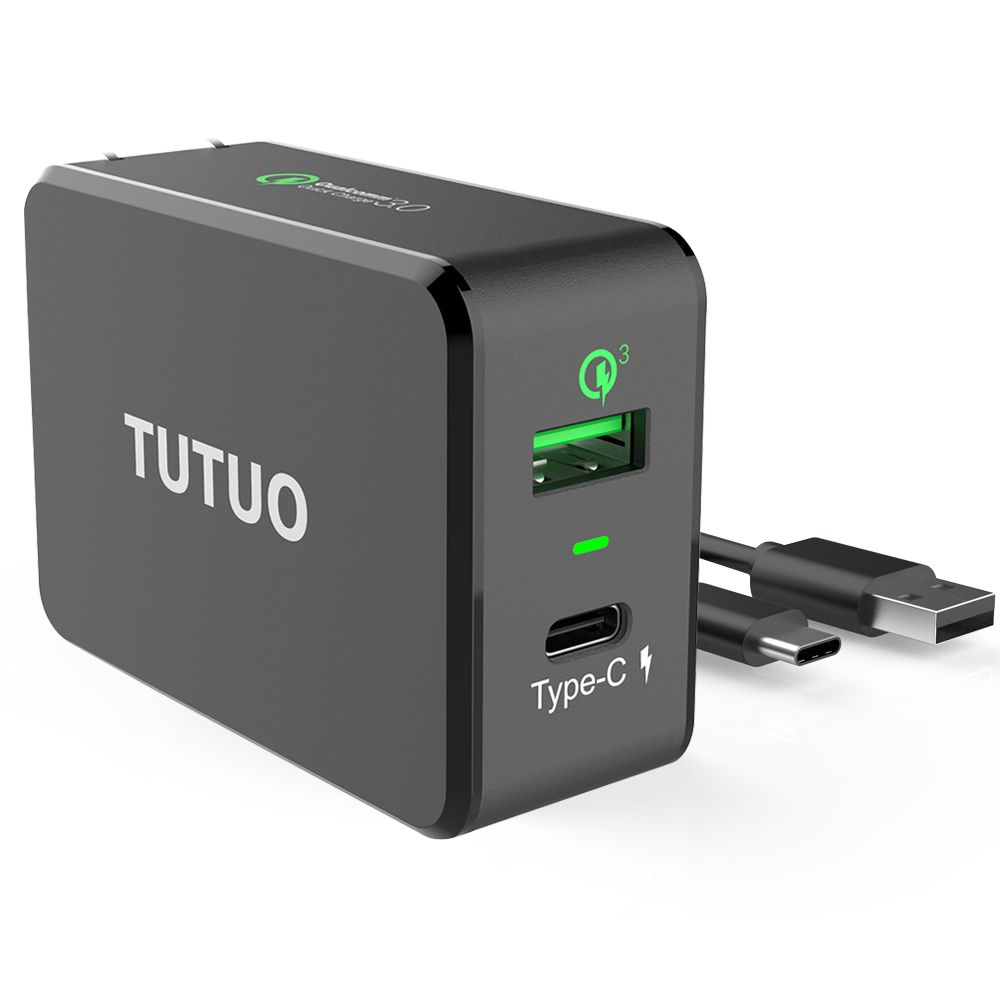 TUTUO Charge Rapide 3.0 USB Rapide Chargeur + Type-c Voyage 2 Ports 33 W Smart Wall Chargeur US Plug UE pour Xiaomi iPhone 7 Puissance Banque