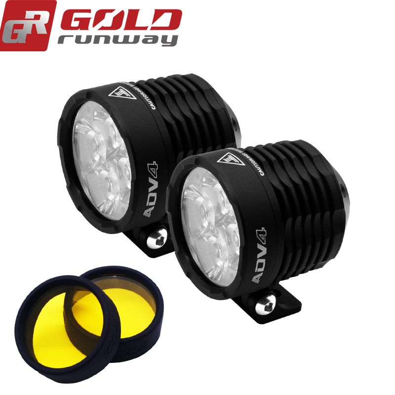 GOLDRUNWAY GR ADV4 Mini Motorcycle bicycle Headlight spot/flood lights lamp 3800lm Auxiliary driving Motorbike Brightness light