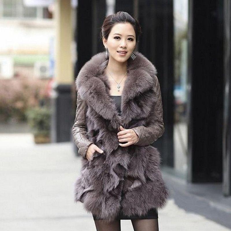 2017 осень-зима Для женщин из натуральной овчины кожаные пальто с лисой меховой воротник женский Изящная верхняя одежда VF0058