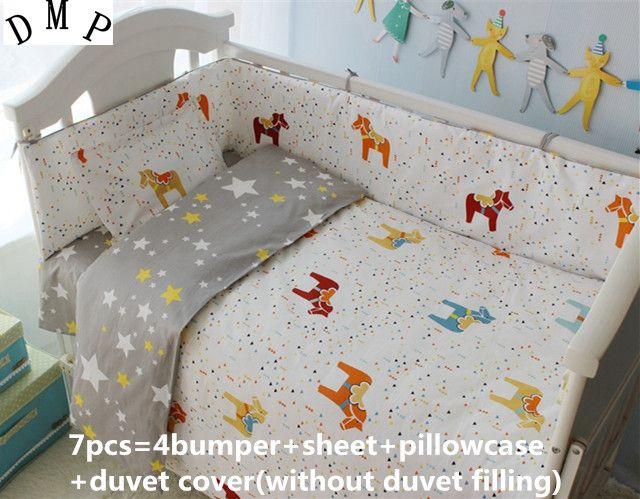 Discount! 6/7pcs baby bedding set 100% cotton baby cot sets quilt cover sheet pillow cover,120*60/120*70cm