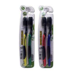 2 шт./лот бамбуковый уголь Волокно мягкой щетиной Зубная щётка для домашнего использования черная голова бамбук бытовой зубная щетка