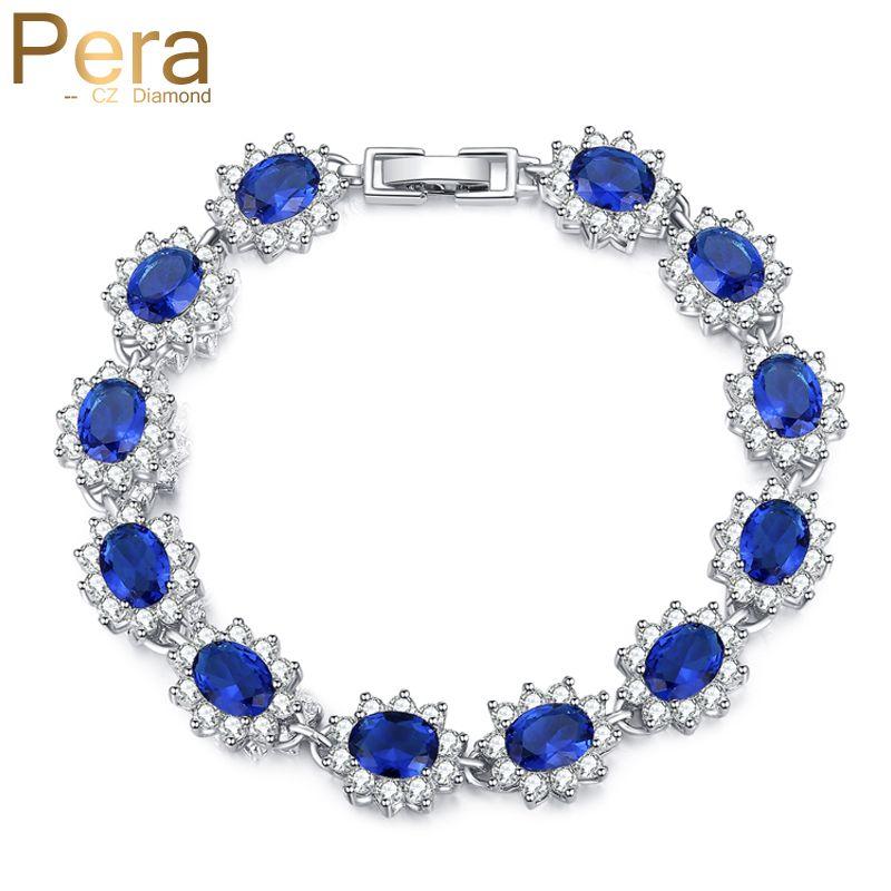 Pera Vintage bijoux royaux Sterling 925 argent ovale bleu cubique zircone lien et chaîne Bracelet pour les femmes cadeau de noël B014