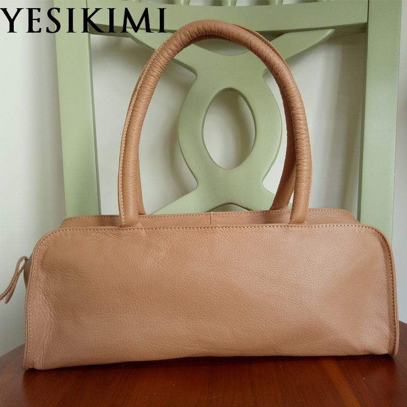 YESKIMI 2017 New Bags For Women Genuine Leather Boston Bags Vintage Pillow Shape Tote Cowhide Leather Female Handbegs Bolsas