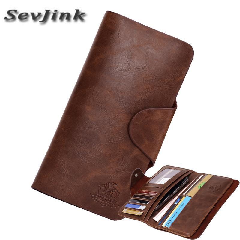 2019 portefeuilles pour hommes en cuir véritable coques de téléphone portefeuille porte-cartes Vintage Long embrayage porte-monnaie poche pour homme