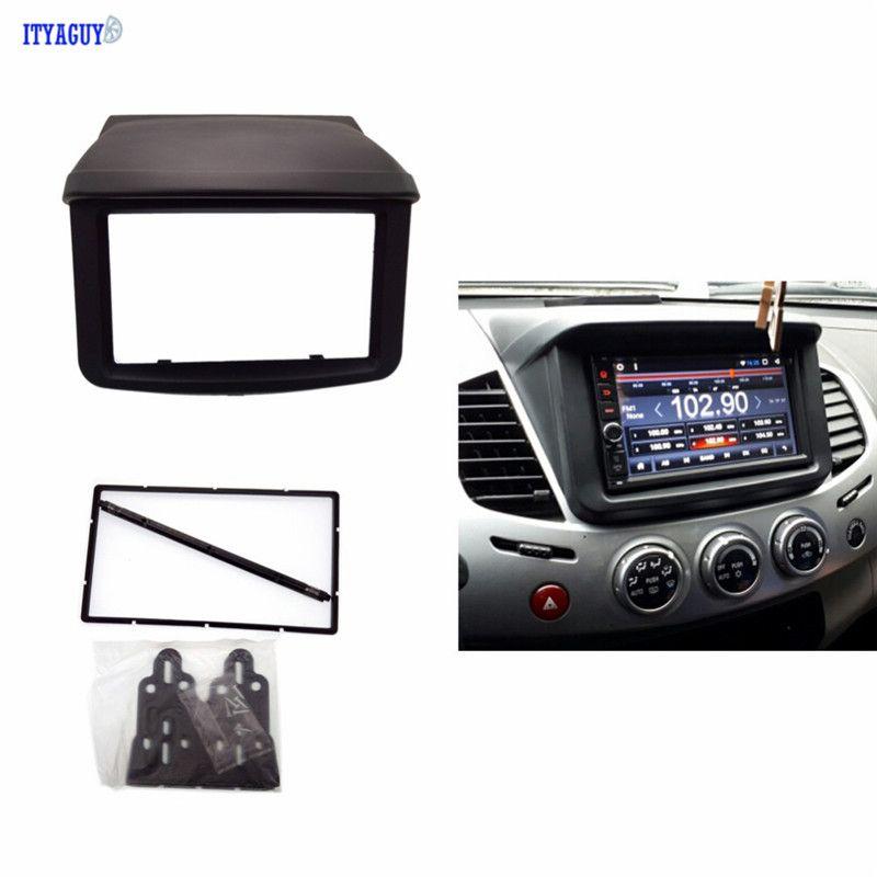 Double 2 Din Radio DVD Stereo Panel Dash Mounting Installation Trim Kit Face Frame Fascia for Mitsubishi Pajero Sport Triton