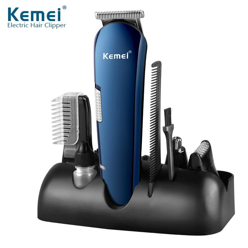 Kemei 5 In 1 Multifunctional Hair Clipper Shaver Nose Ear Eyebrow Trimmer Four Heads for Man USB Chargeable Hair Beard Trimmer
