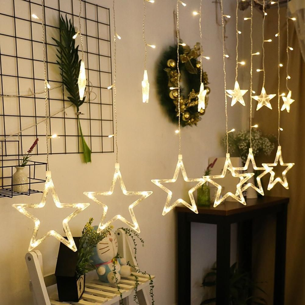 2.5M Christmas LED Lights AC 220V Romantic Fairy Star LED Curtain String Lighting Strip Holiday Wedding Garland Party Decoration