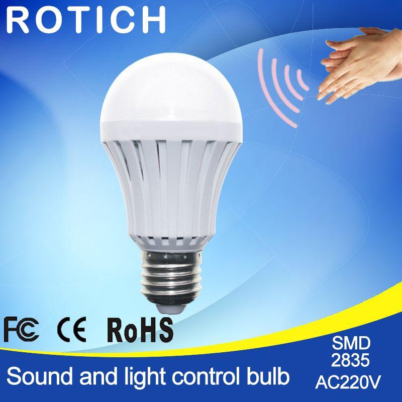 Bewegungsmelder Lampe 3 Watt 5 Watt 7 Watt 9W12W E27 220 V Led-lampe Leuchtet Auto Smart Sound & Lichtsteuerung Led-lampen Zu Hause Beleuchtung Tor Treppen