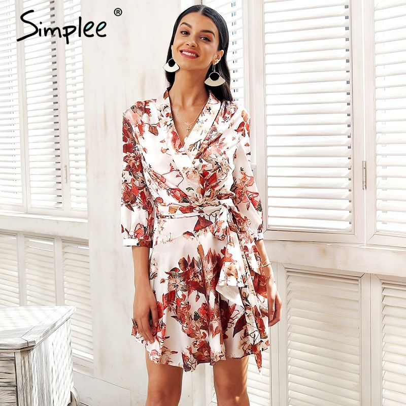 Simplee Long sleeve satin summer dress Women floral print spring dress female Streetwear sash wrap causal dress robe femme 2018