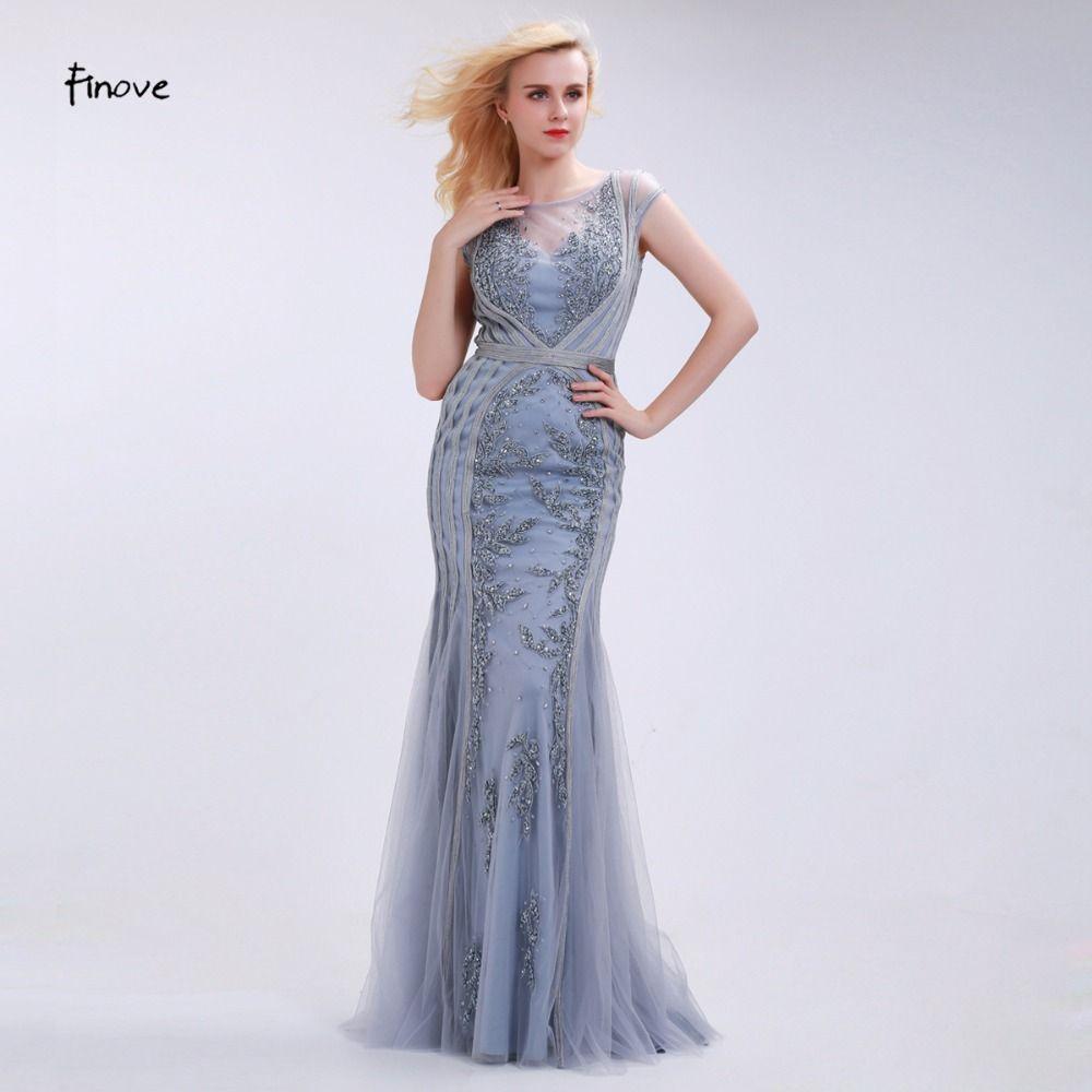 Finove Elegant Mermaid Evening Dresses Long 2018 New Style Scoop-Neck Capped Beading Gray Prom Gown Vestido de Festa