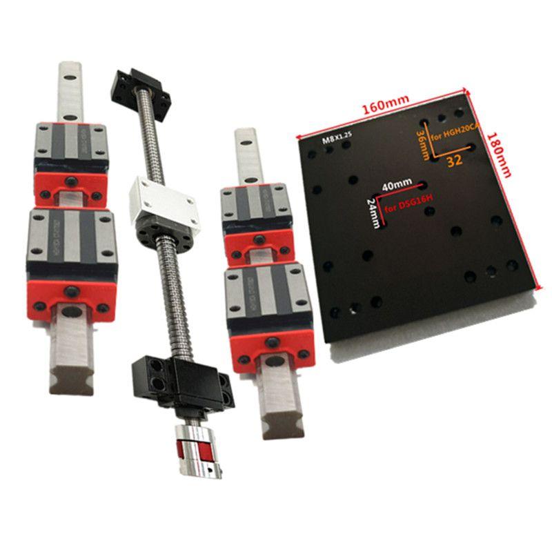 16mm ballscrew RM1605-200/300/400/500/600/700/800/900/1000mm+BK/BF12 end bearing+20mm Linear Guideway  module slider cnc