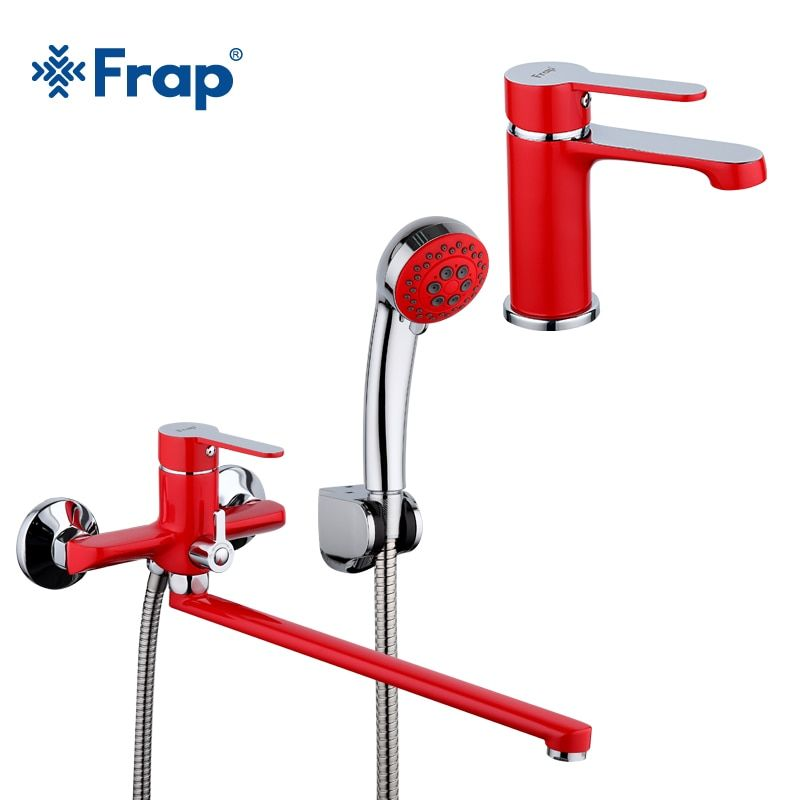 Frap 1 set 340mm Outlet pipe red Spray painting bathroom Bathtub shower faucet with basin tap mixer shower head F2243