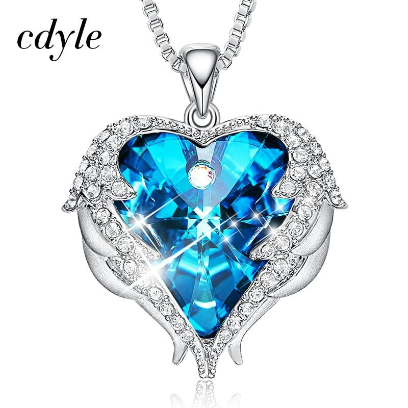 Cdyle Women Silver Color Necklace Embellished with crystals from Swarovski Necklace Angel Wings Heart Pendant Birthday Gifts