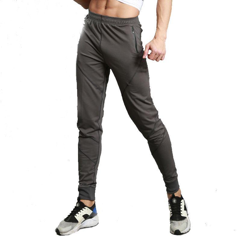 2017 New Men Running Pants Zipper Slim Sports Football Basketball Leggings Training Trousers Pocket Gym Fitness Jogging Pants XL
