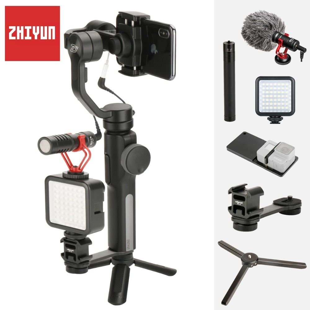 Zhiyun Smooth Q 4 Gimbal Handheld 3-Axis Stabilizer for iPhone X 7 Plus Samsung S8 PK Osmo Mobile 2 with BY-MM1 LED Light Gopro