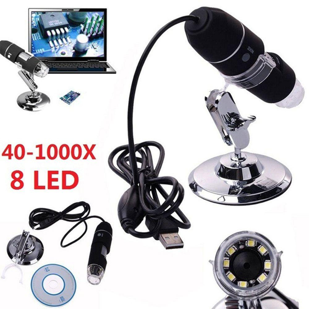 2MP USB Digital Microscope 1000X Endoscope Zoom Camera Magnifier+Stand Device