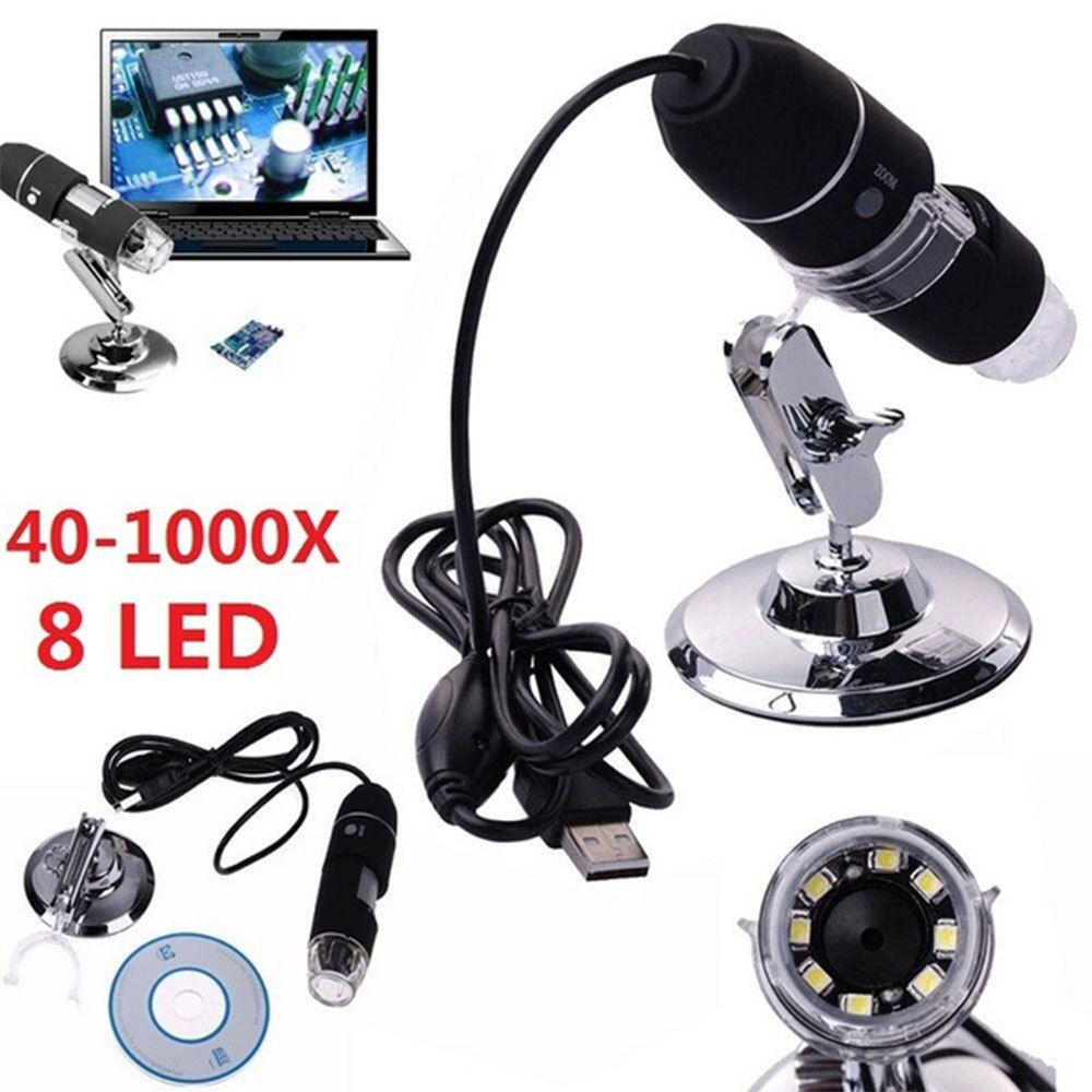 2MP USB Numérique Microscope 1000X Endoscope Zoom Caméra Loupe + Stand Dispositif