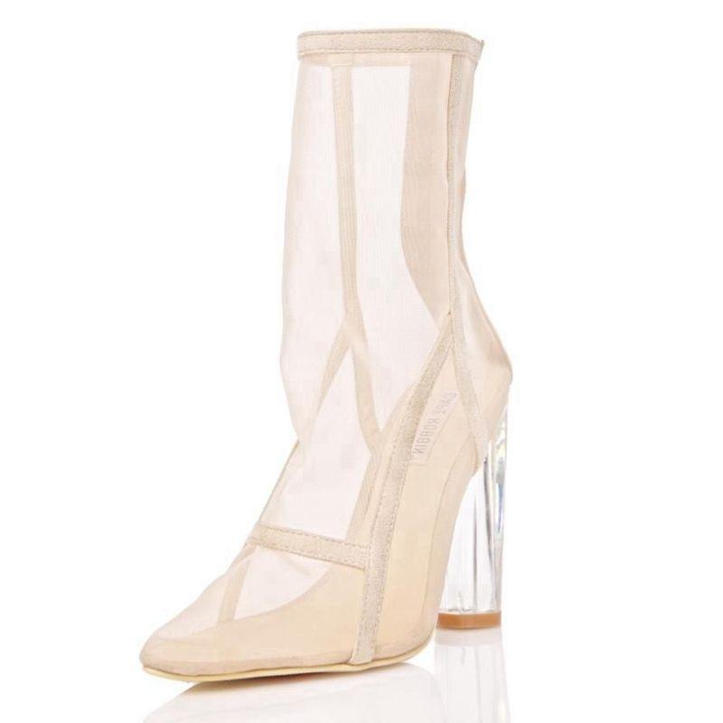 ARQA nouveau femmes bottes en maille clair Perspex talon maille bottines Transparent épais talon été bottes Chunky talons femme chaussons