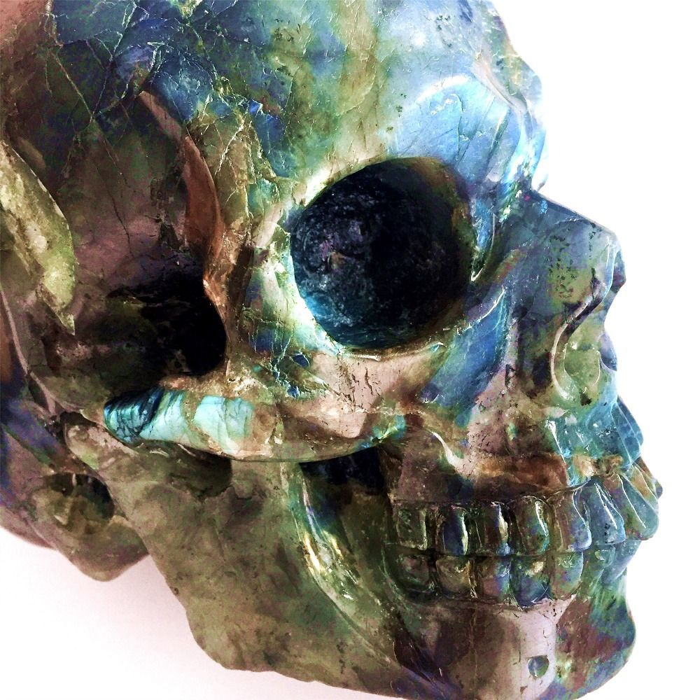 3.8kg Natural Labradorite Carved Skull Colorful Stones Healing Gigt 2018 Christmas Decorations for Home