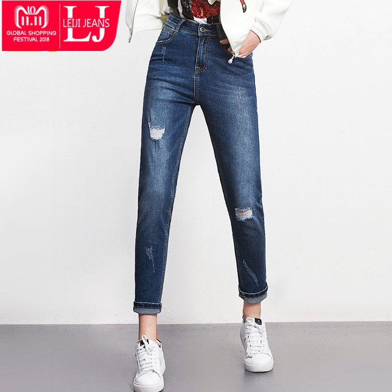 LEIJIJEANS Offre Spéciale Cool D'été Plus La Taille De Mode Déchiré Bleach Mi Taille Pleine Longueur High Street Femmes Lâche Harem Jeans